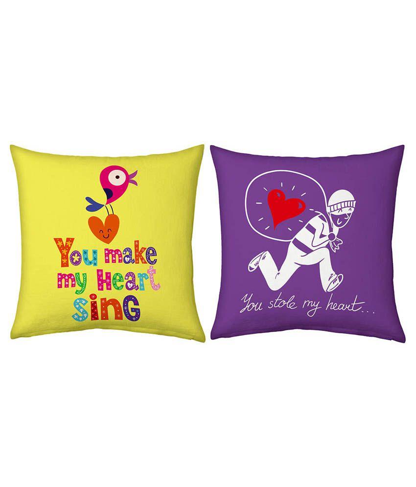 Ethnictreat Romantic Print Yellow n Purple Cushions Pair 149