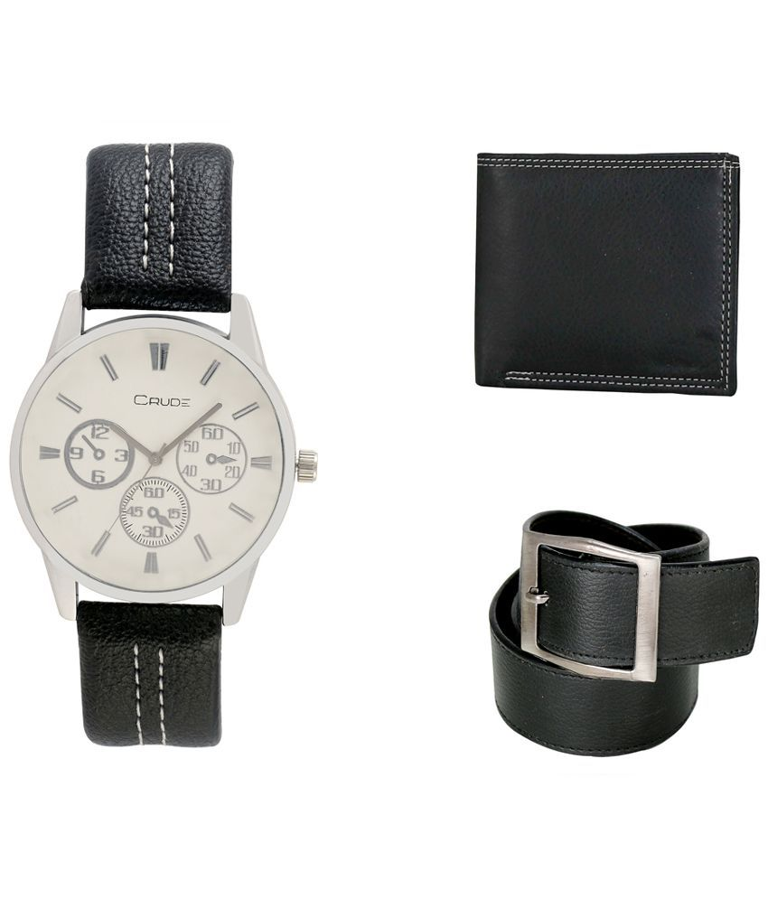 Crude Combo of White Leather Analog Quartz Watch, Belt and Wallet