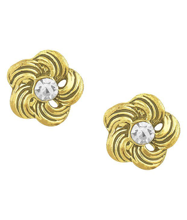 Shining Jewel Golden Brass Stud Earrings