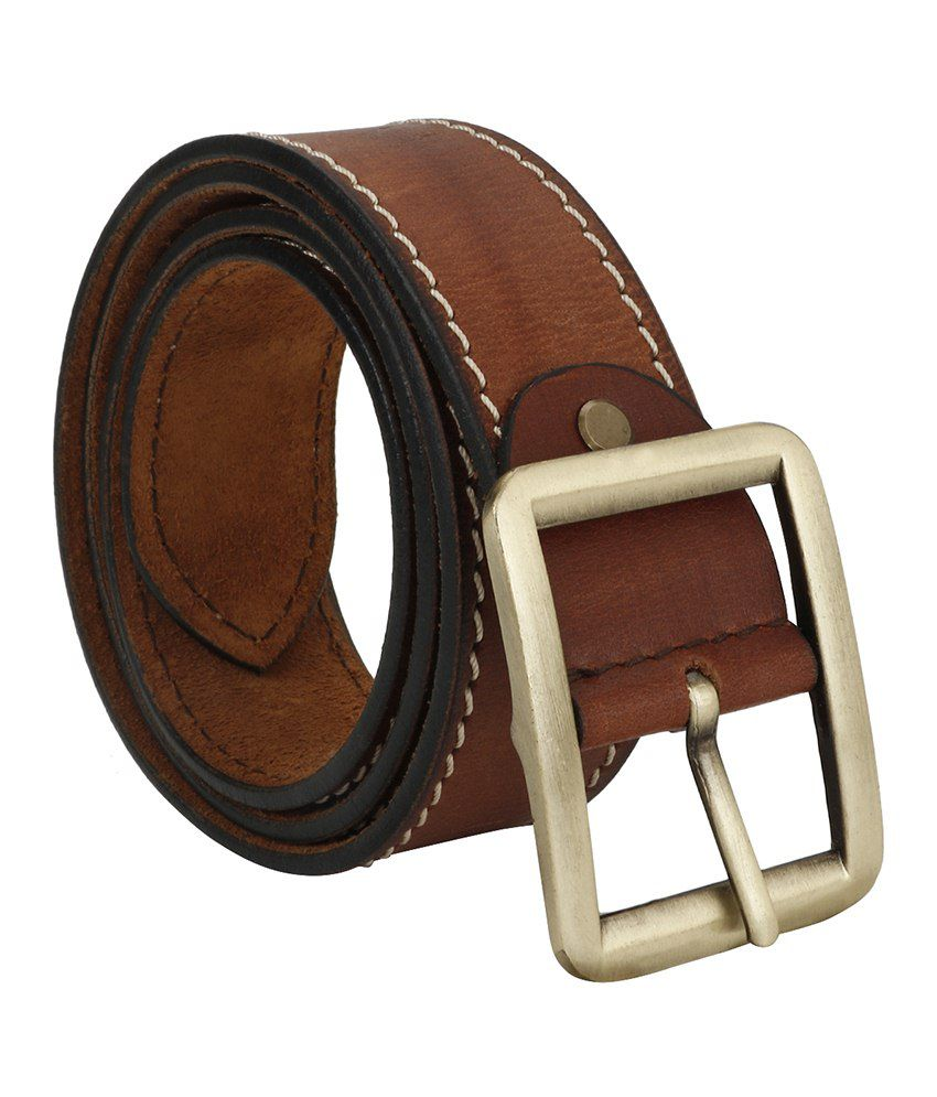 Jsj Brown Leather Belt For Men