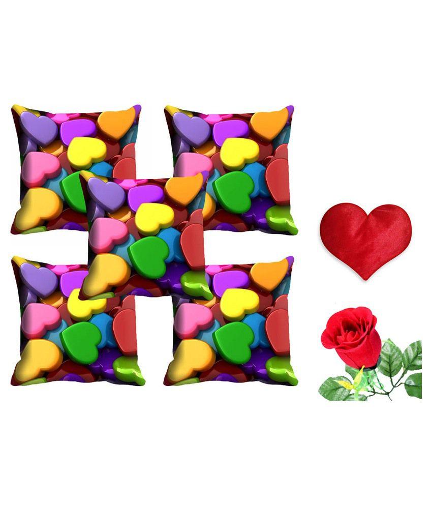 Mesleep Multicolour Satin Abstract Cushion Cover