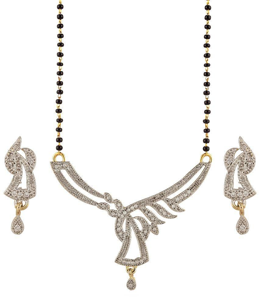 Aashvi Creation Golden Mangalsutra Set With Chain