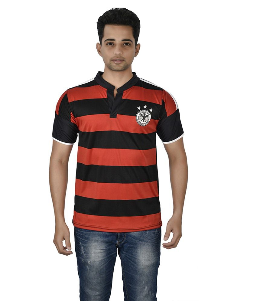 Attitude Black & Orange Polyester T-shirt