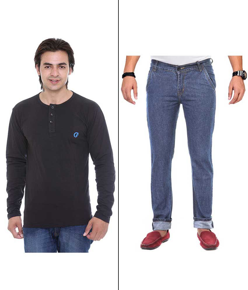Ave Blue Regular Fit Jeans With T-shirt - Pack Of 2
