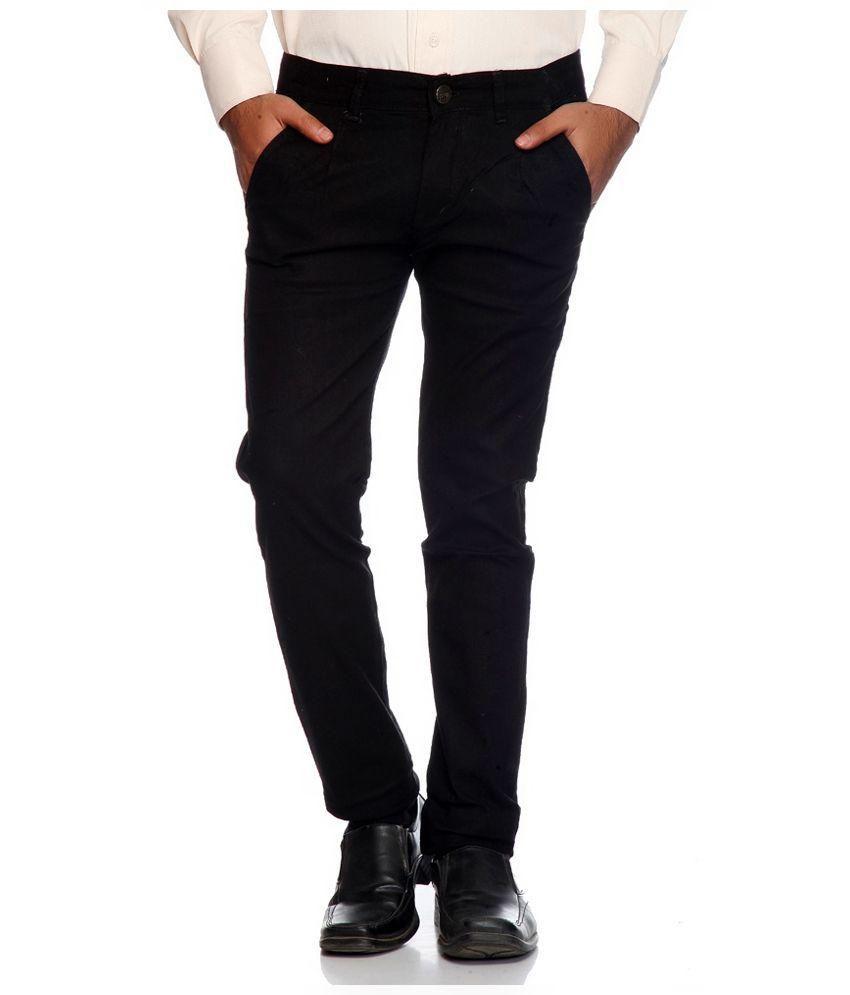 Luv Kush Black Cotton Casual Chinos Trouser