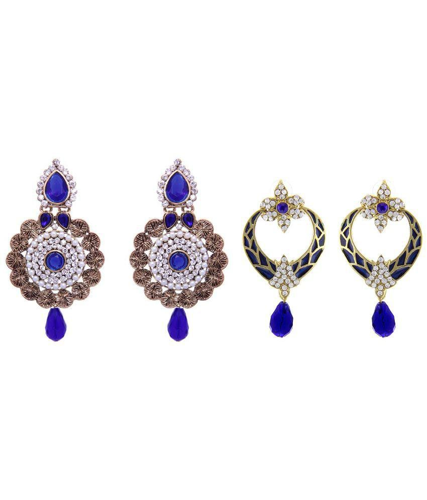 Kaizer Jewelry Blue Diamond Studded Earrings - Pack of 2