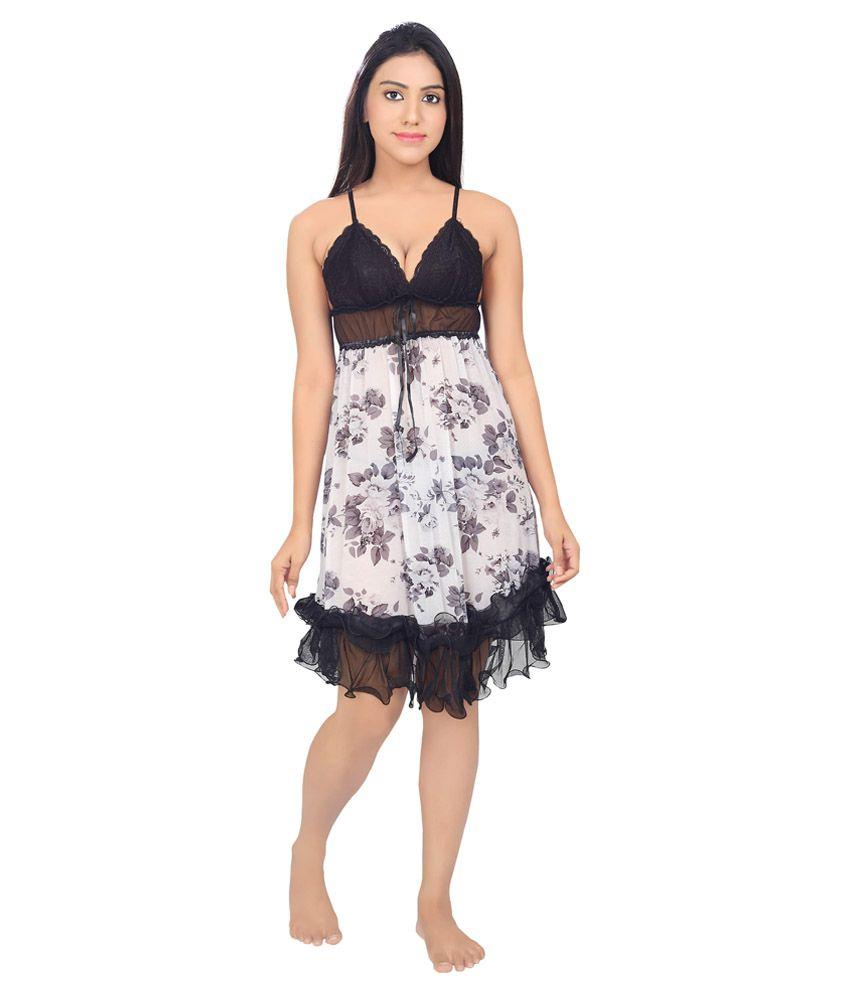 Velvet Rose Black Net Baby Doll Dresses