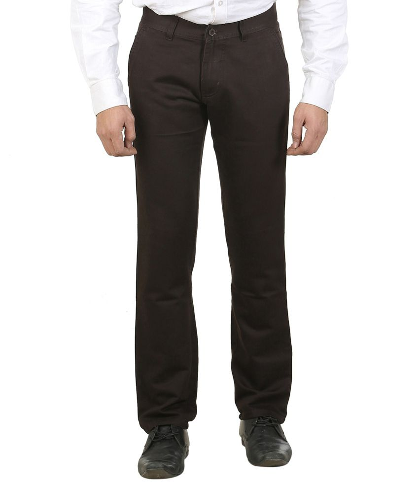 Ethzone Brown Regular Fit Casual Chinos
