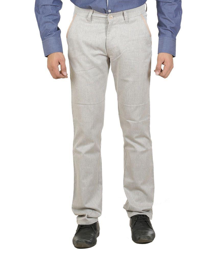 Ethzone White Slim Fit Formal Flat Trouser