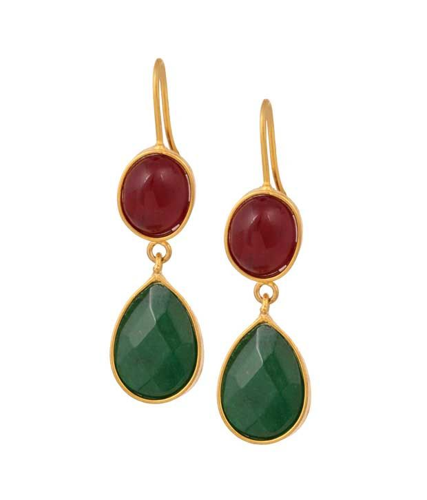 Red and Green Coloured Zebstone Dangle Earrings By Shnella.