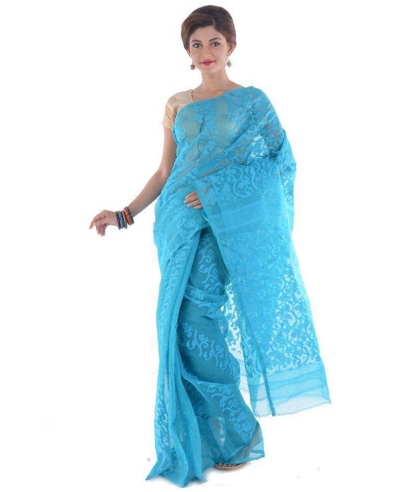 TANIS Blue Cotton Saree