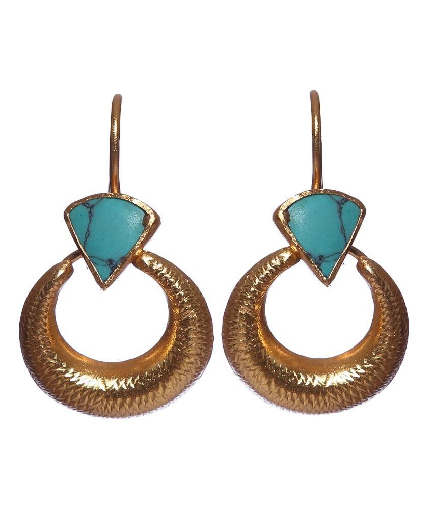 Avanishk Jewels 92.5 Sterling Silver And Goldstone Hanging Earrings