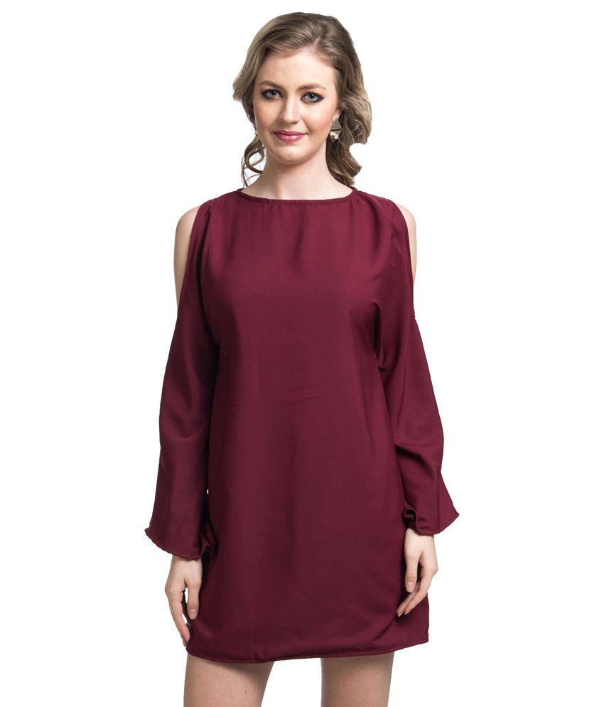 Uptownie Lite Maroon Polyester Dresses