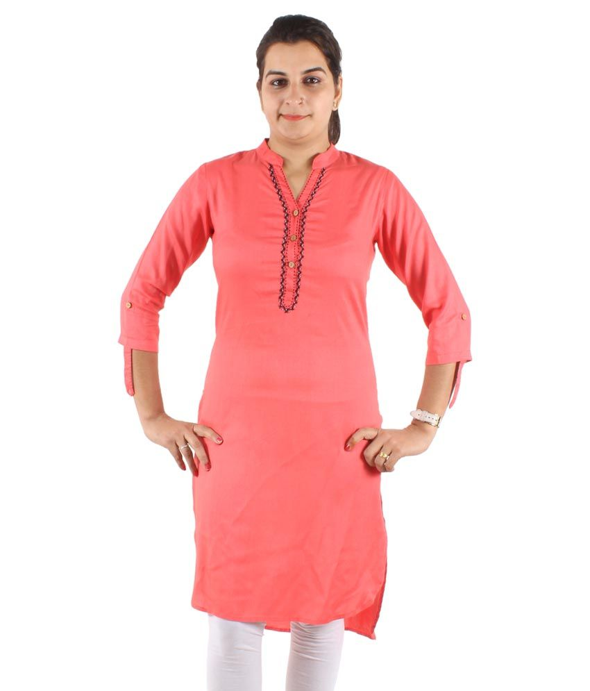 Laxmi Fab Pink Straight Cotton Kurti