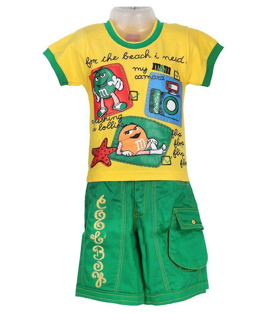 Shinchan Yellow And Green Cotton Top And Bottom Set For Boy