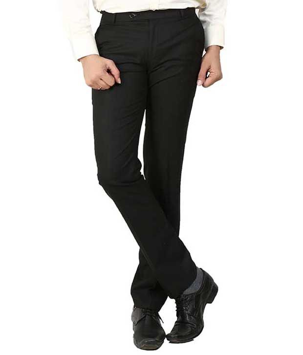 Follow Up Black Regular Fit Formal Flat Trousers