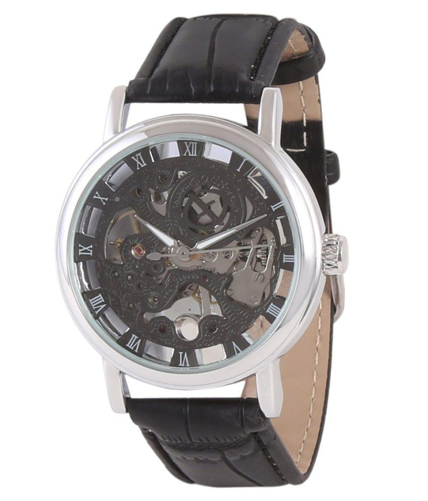Timebre Antiquity Black Mechanical Skeleton Watch