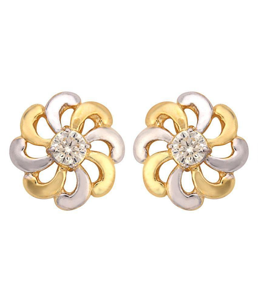Tushar Gems Golden Designer Australian Diamond Stud Earrings