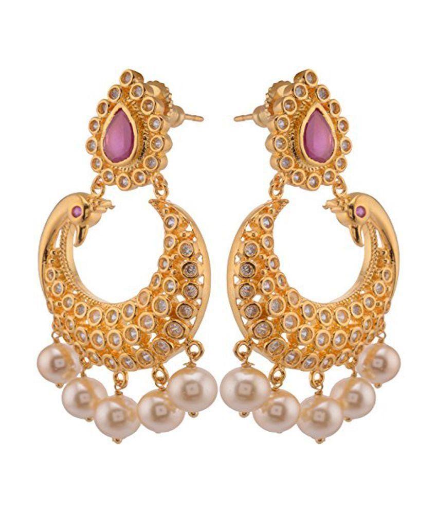 Violet & Purple Gold Plated Chandelier Earrings - Buy Violet ...