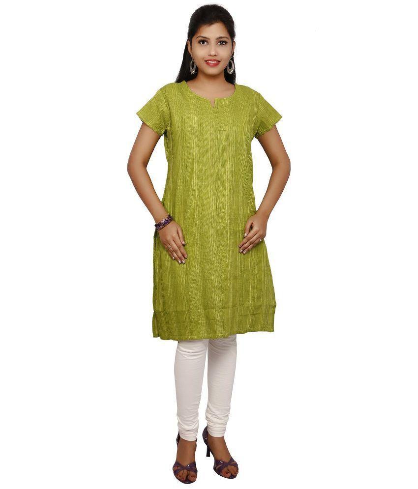 Thraya Green Straight Cotton Kurti