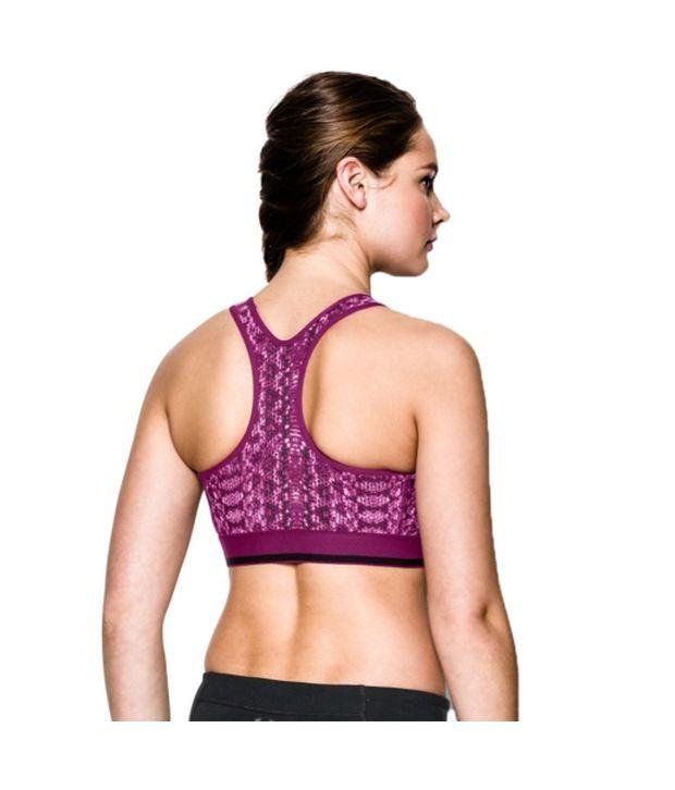 Under Armour Under Armour Women's Heatgear Alpha Printed Sports Bra, Black/white/pixel Shadow