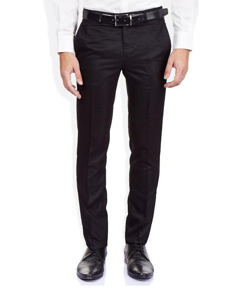 Singham Black Formal Flat Trousers