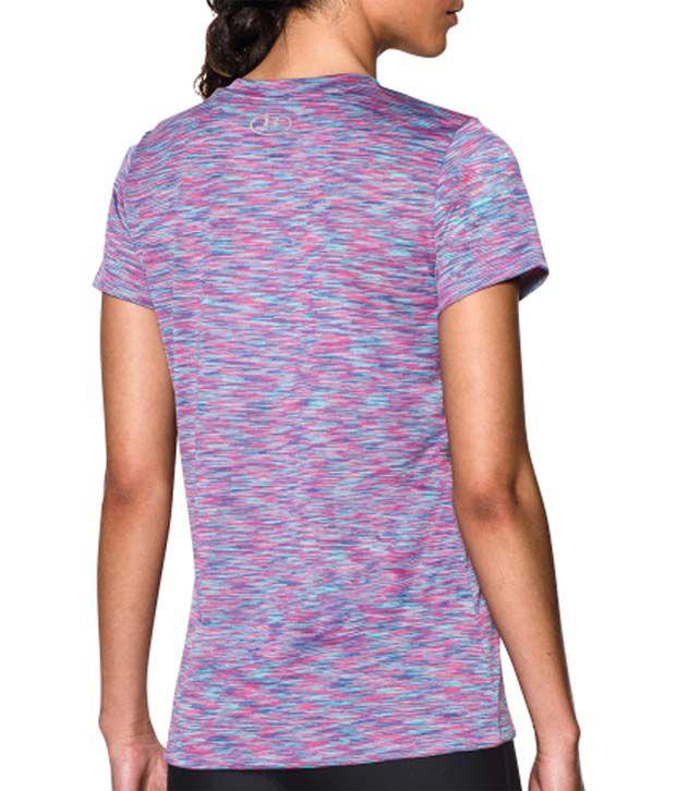 Under Armour Under Armour Women's Tech Disruptive Space Dye V-neck T-shirt, Cyber Orange/rebel Pink