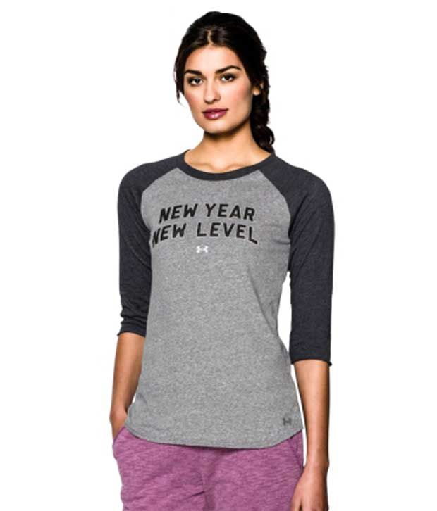 Under Armour Under Armour Women's Charged Cotton Tri-blend New Year Raglan Three Quarter Length Sleeve Shirt, Academy/msv