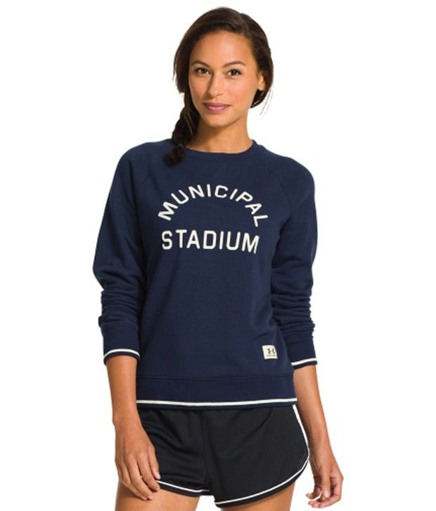 Under Armour Under Armour Women's Legacy East French Terry Crewneck Long Sleeve Shirt, Academy/ivory