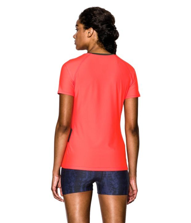 Under Armour Under Armour Women's Heatgear Alpha Printed Short Sleeve Shirt, Aubergine/pink Shock/msv