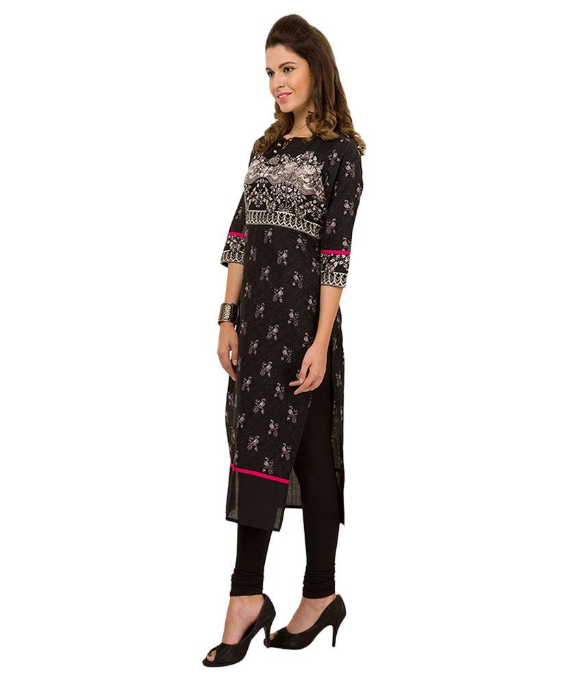 25b038d4583 Vishudh Black Printed Kurta - Buy Vishudh Black Printed Kurta Online at  Best Prices in India on Snapdeal
