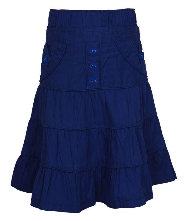 Jazzup Blue Cotton Solids Skirt