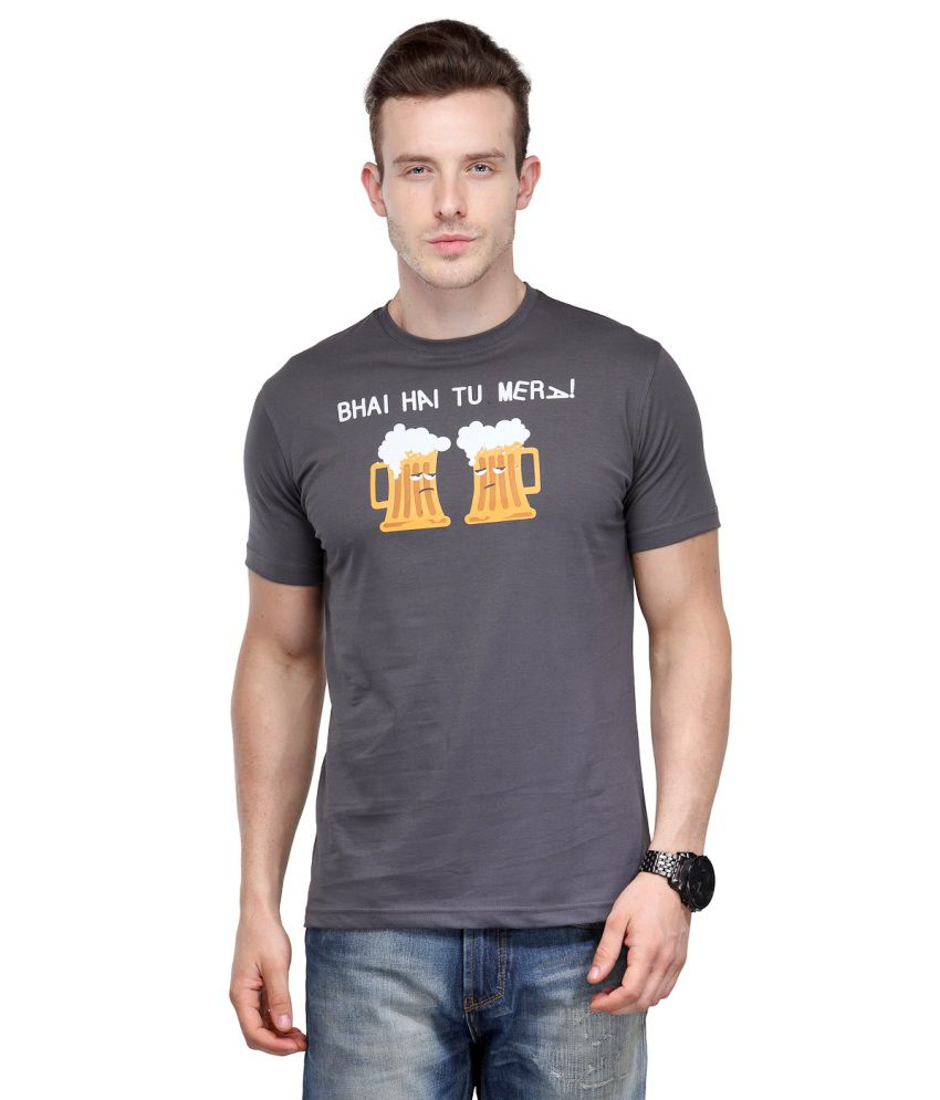 Rootstock Grey Cotton Round Neck T-shirt With A Trendy Graphic