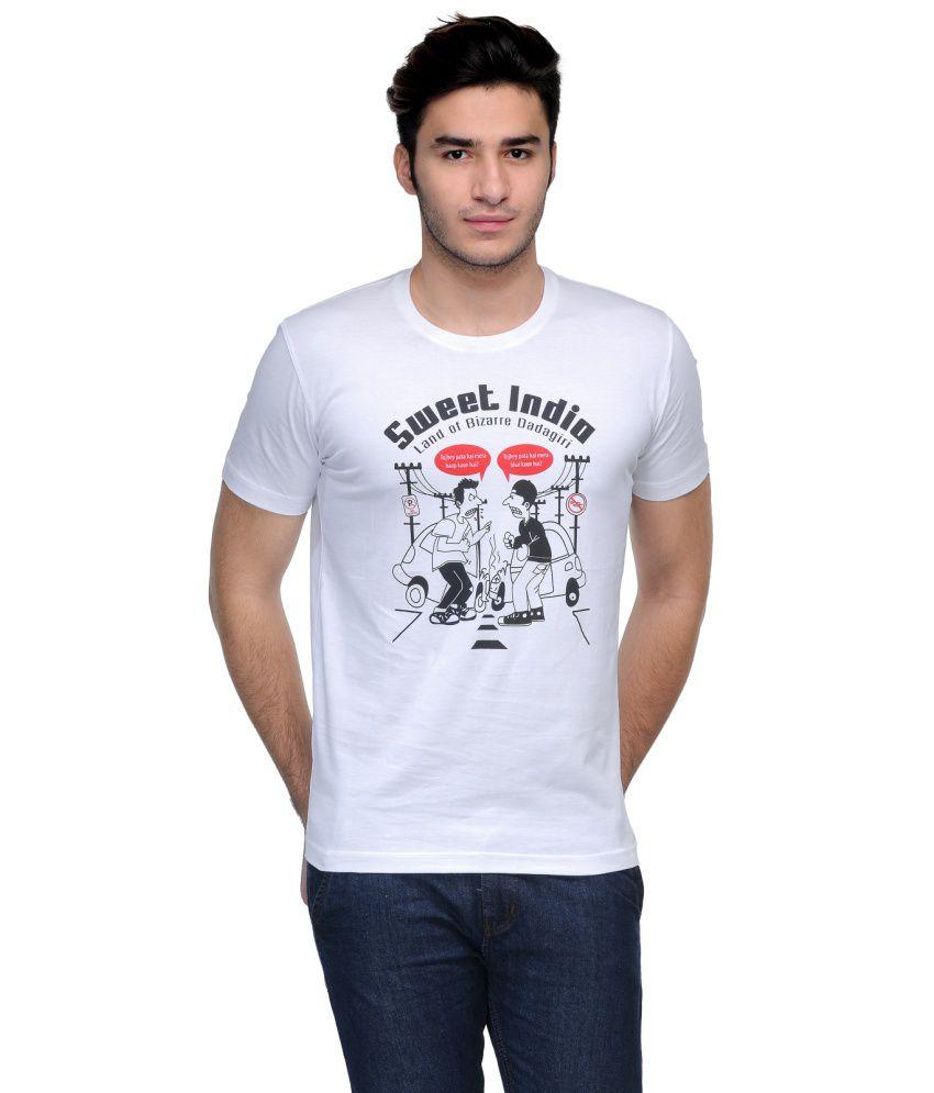 Rootstock White Cotton Graphic Round Neck T-shirt