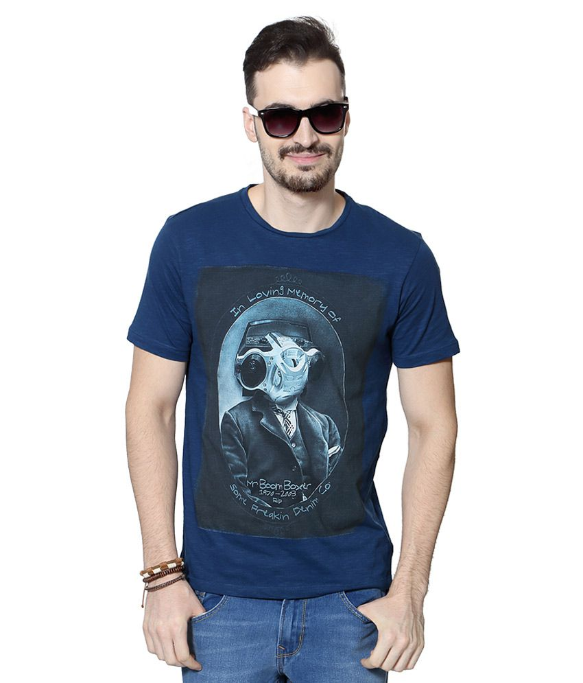 SF Jeans by Pantaloons Blue Round Neck T Shirt