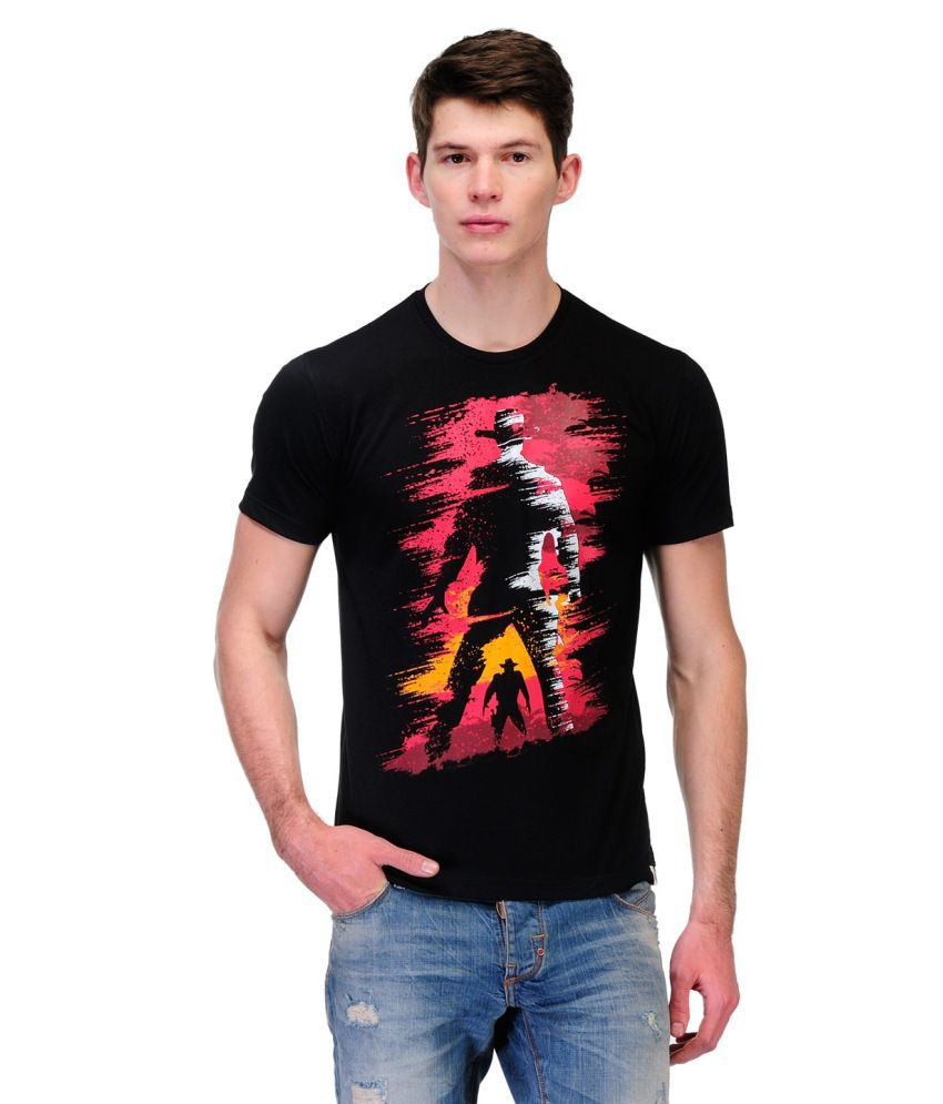 Slingshot Black And Pink Cotton Round Neck T-shirt With A Trendy Graphic