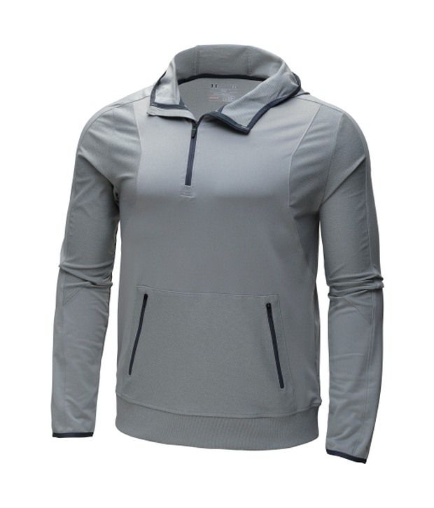 Under Armour Men's Forum Quarter Zip Hoodie True Gray Heather