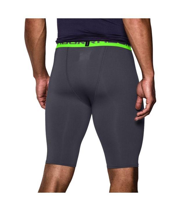 Under Armour Men's HeatGear Armour Compression Shorts - Long White/Graphite