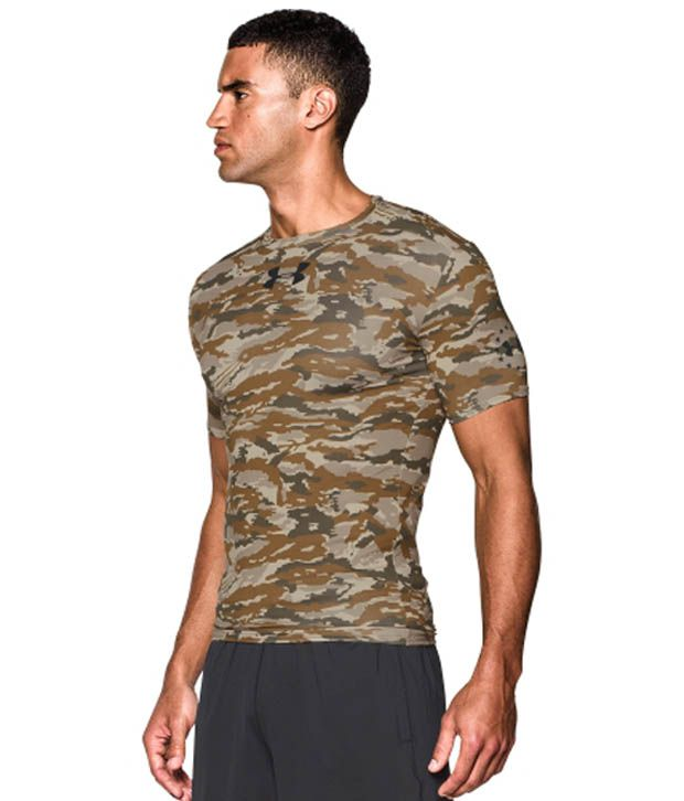 Under Armour Men's UA Freedom Woodland Camo Compression Short Sleeve Shirt, Coyote Brown