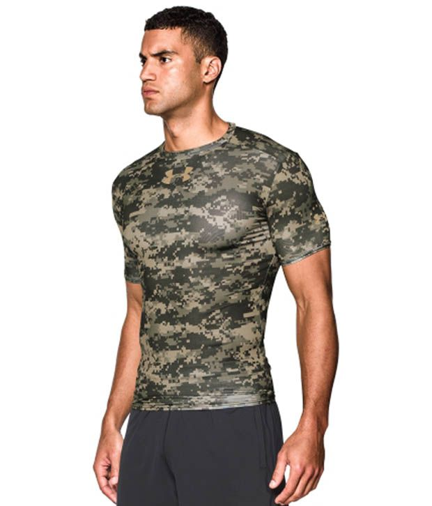 Under Armour Under Armour Men's Ua Freedom Woodland Digi Camo Compression Short Sleeve Shirt, Artillery Green