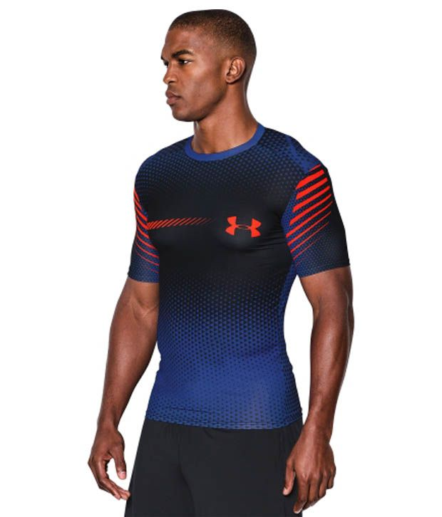 Under Armour Under Armour Men's Heatgear Armour Branded Compression Shirt, Poison/black