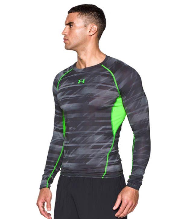 Under Armour Under Armour Men's Heatgear Armour Launch Print Compression Long Sleeve Shirt, Academy/bolt Orange