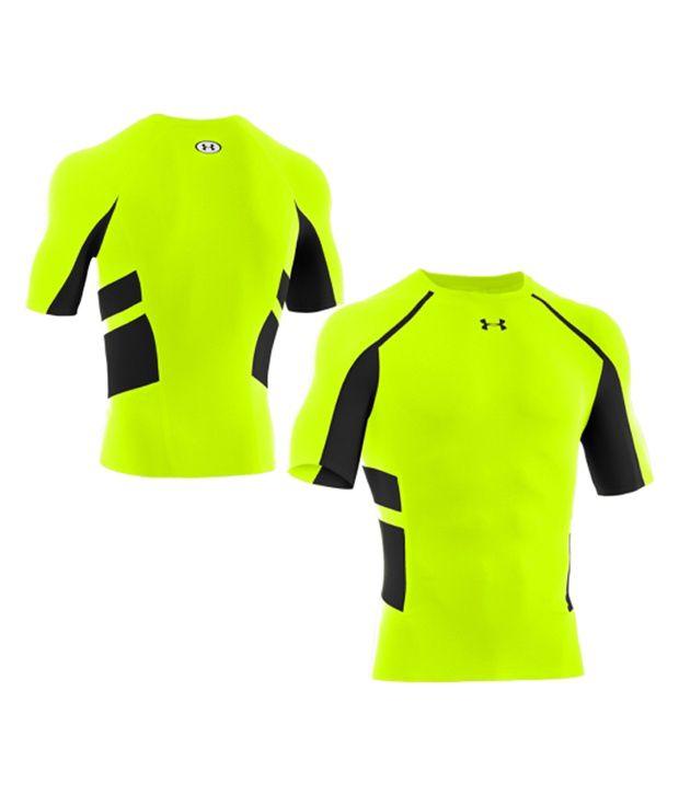 Under Armour Under Armour Men's Heatgear Armour Stretch Compression Shirt, Hi Vis/black
