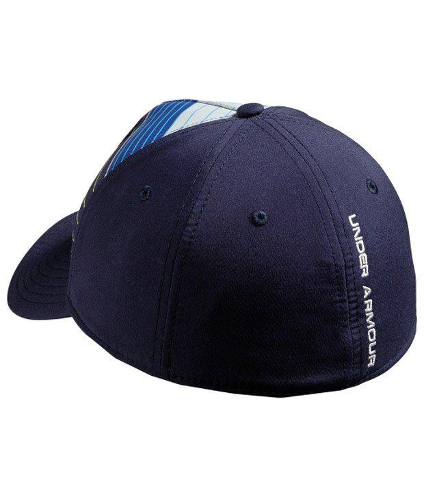 Under Armour Under Armour Men's Stripe Logo Stretch Fit Hat, Midnight Navy/hvy