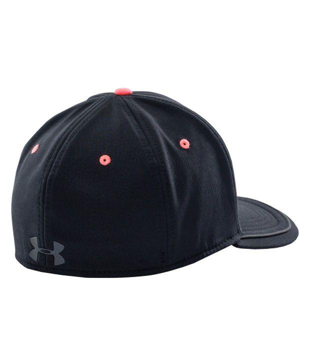 Under Armour Under Armour Men's Flat Brim Stretch Fit Hat, Black/after Burn