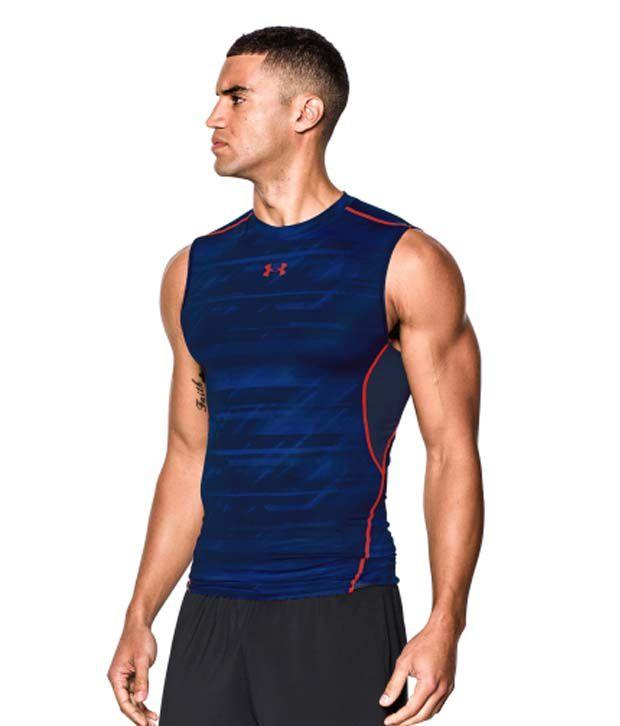 Under Armour Under Armour Men's Heatgear Armour Launch Print Compression Sleeveless Shirt, Academy/bolt Orange