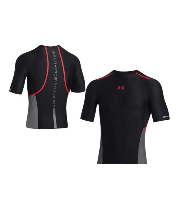 Under Armour Under Armour Men's Clutchfit Compression Half Sleeve Shirt, Black/risk Red