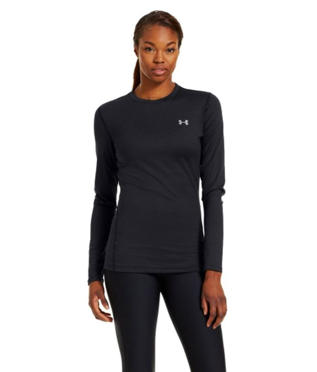 Under Armour Women's ColdGear Fitted Long Sleeve Crewneck Shirt, Black