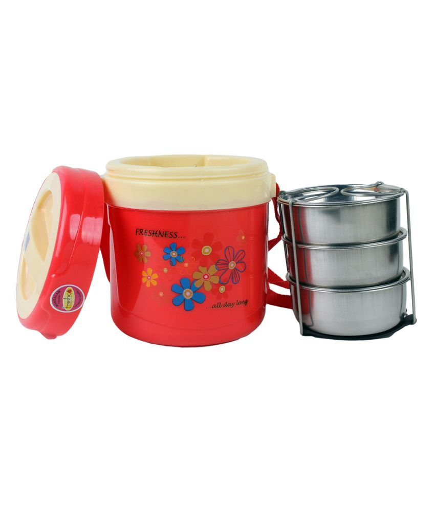 Freshco Hot Lunch Box 3 Container Insulated Tiffin - Red