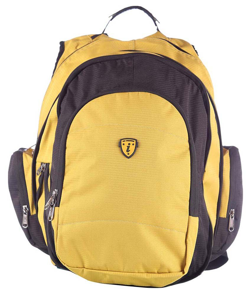 I Yellow And Black Polyester Backpack